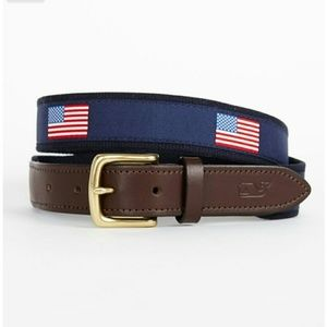 Men's vineyard vines american flag canvas belt. 32